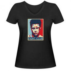 Женская футболка с V-образным вырезом Fight Club Tyler Durden - FatLine