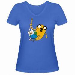 """Женская футболка с V-образным вырезом Фин и Джейк """"Атака"""" - FatLine"""