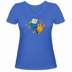Женская футболка с V-образным вырезом Фин и Джейк танцуют 2 - FatLine