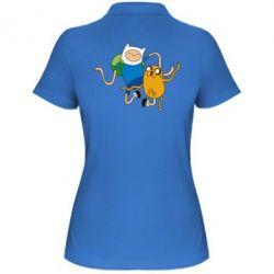 Женская футболка поло Фин и Джейк танцуют 2 - FatLine