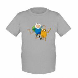 Детская футболка Фин и Джейк танцуют 2 - FatLine