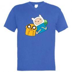 Мужская футболка  с V-образным вырезом Фин и Джейк - FatLine