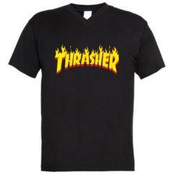 Мужская футболка  с V-образным вырезом Fire Thrasher - FatLine