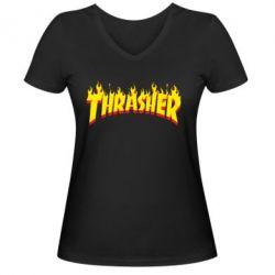 Женская футболка с V-образным вырезом Fire Thrasher - FatLine