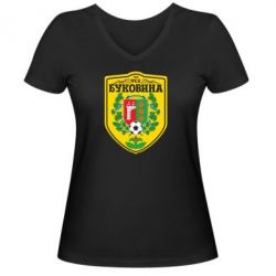 Женская футболка с V-образным вырезом ФК Буковина Черновцы - FatLine