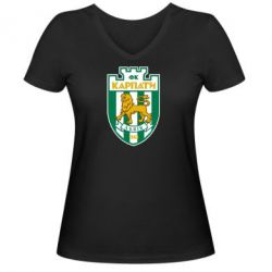 Женская футболка с V-образным вырезом ФК Карпаты Львов - FatLine