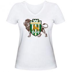 Женская футболка с V-образным вырезом ФК Карпаты Львов