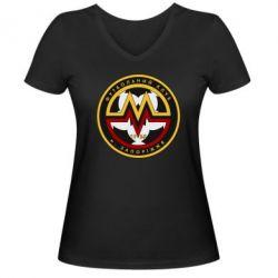 Женская футболка с V-образным вырезом ФК Металург Запоріжжя - FatLine