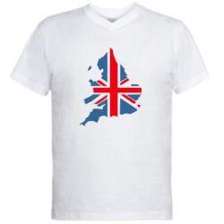 Мужская футболка  с V-образным вырезом Флаг Англии - FatLine