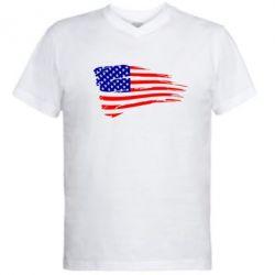 Мужская футболка  с V-образным вырезом Флаг США - FatLine