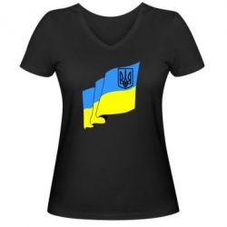 Женская футболка с V-образным вырезом Флаг Украины с Гербом - FatLine