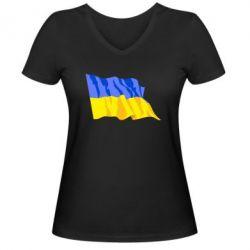 Женская футболка с V-образным вырезом Флаг - FatLine