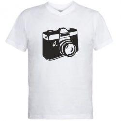 Мужская футболка  с V-образным вырезом Фотоаппарат - FatLine