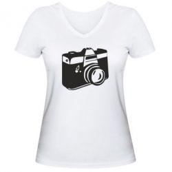 Женская футболка с V-образным вырезом Фотоаппарат - FatLine