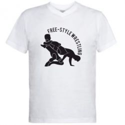 Мужская футболка  с V-образным вырезом Free-style wrestling - FatLine