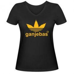 Женская футболка с V-образным вырезом Ganjubas - FatLine