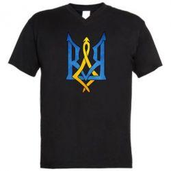 """Мужская футболка  с V-образным вырезом Герб """"Арт"""" - FatLine"""