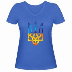 Женская футболка с V-образным вырезом Герб из ломанных линий - FatLine