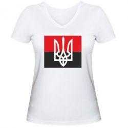 Женская футболка с V-образным вырезом Герб на прапорі - FatLine