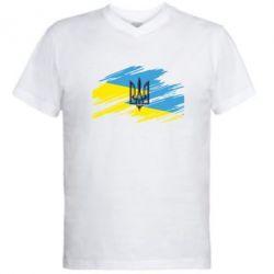Мужская футболка  с V-образным вырезом Герб на рваному прапорі - FatLine