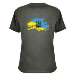 Камуфляжная футболка Герб на рваному прапорі - FatLine