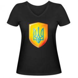 Женская футболка с V-образным вырезом Герб на щиті - FatLine