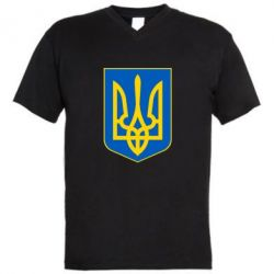 Мужская футболка  с V-образным вырезом Герб неньки-України - FatLine