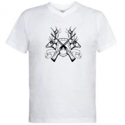 Мужская футболка  с V-образным вырезом Герб Охотника - FatLine