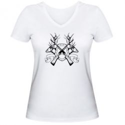 Женская футболка с V-образным вырезом Герб Охотника - FatLine