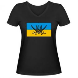 Женская футболка с V-образным вырезом Герб та шаблі - FatLine