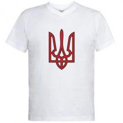 Мужская футболка  с V-образным вырезом Герб України (двокольоровий) - FatLine