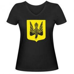 Женская футболка с V-образным вырезом Герб України сокіл - FatLine