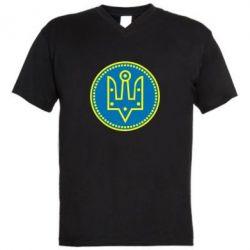 Мужская футболка  с V-образным вырезом Герб України у колі - FatLine