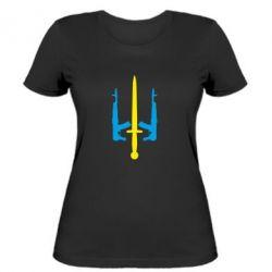 Женская футболка Герб України з автоматами та мечем - FatLine