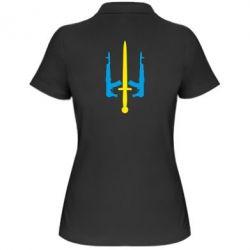 Женская футболка поло Герб України з автоматами та мечем - FatLine