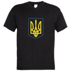 Мужская футболка  с V-образным вырезом Герб України з рамкою - FatLine