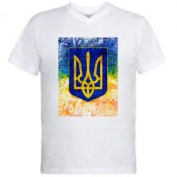 Мужская футболка  с V-образным вырезом Герб Украины цвет