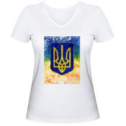 Женская футболка с V-образным вырезом Герб Украины цвет