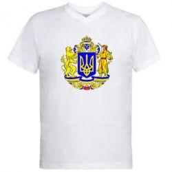 Мужская футболка  с V-образным вырезом Герб Украины полноцветный - FatLine