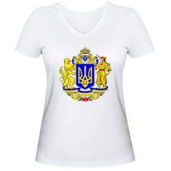 Женская футболка с V-образным вырезом Герб Украины полноцветный - FatLine