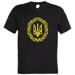Мужская футболка  с V-образным вырезом Герб Украины - FatLine