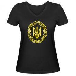 Женская футболка с V-образным вырезом Герб Украины - FatLine