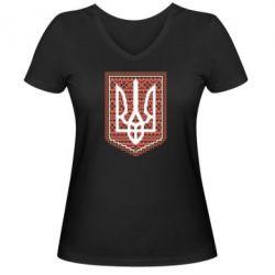 Женская футболка с V-образным вырезом Герб вышиванка - FatLine