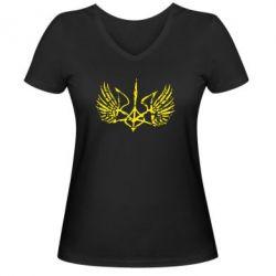 Женская футболка с V-образным вырезом Герб з крилами - FatLine