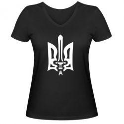 Женская футболка с V-образным вырезом Герб з мечем - FatLine
