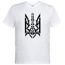 Мужская футболка  с V-образным вырезом Герб з металевих частин - FatLine