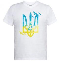 Мужская футболка  с V-образным вырезом Герб з птахами