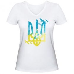 Женская футболка с V-образным вырезом Герб з птахами