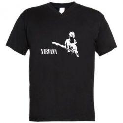 Мужская футболка  с V-образным вырезом Гитарист Nirvana - FatLine