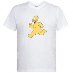 Мужская футболка  с V-образным вырезом Голый Гомер Симпсон - FatLine